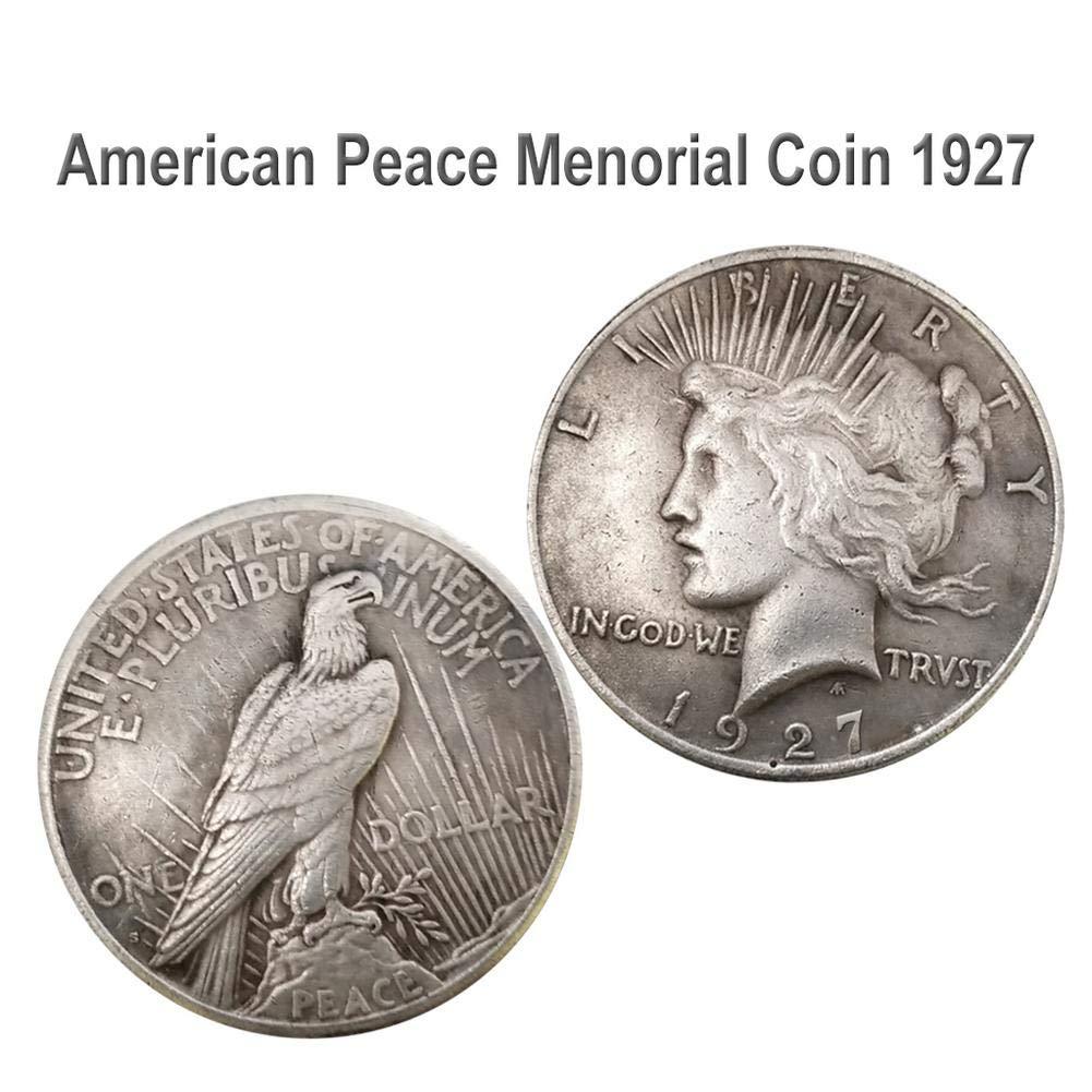 Screwback De Plata Antigua Colecci/ón Moneda De La Paz 1921//1922//1927 Estatua De La Libertad 38MM Silver Dollar Eagle
