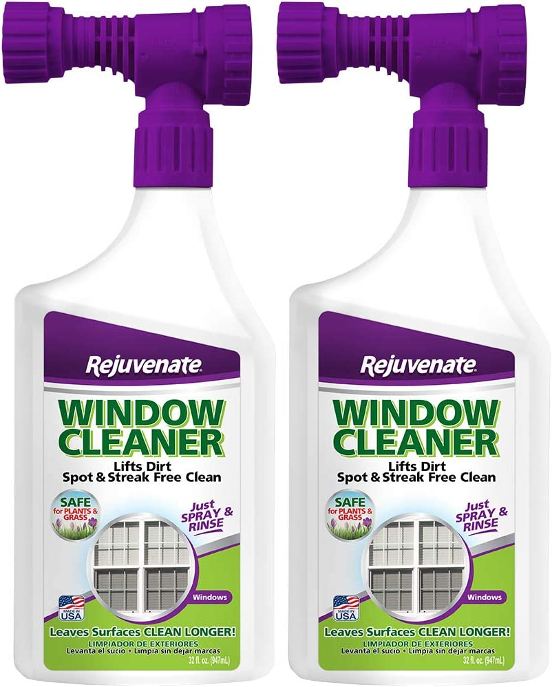 Rejuvenate Outdoor Window Spray and Rinse Cleaner with Hose End Adapter (2 x 32oz)