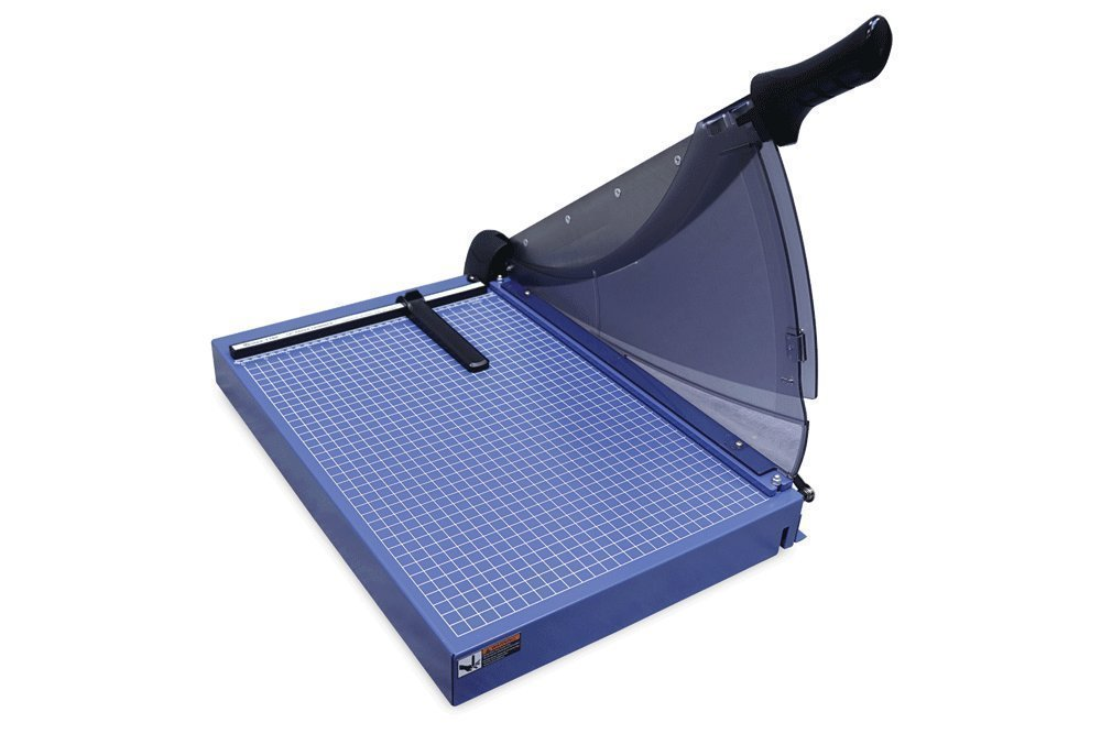 United Professional Grade Guillotine Trimmer, 40 Sheet Capacity with Carbon Steel Blade, ABS Plastic Shield Guard and Solid Steel Construction Blue