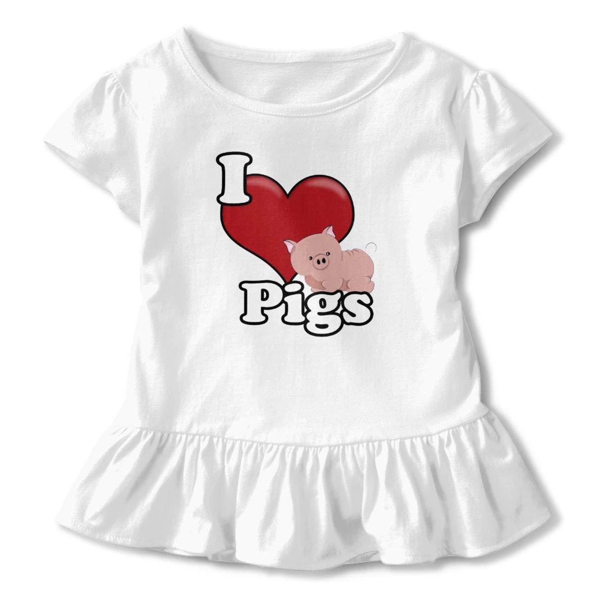 Love Pigs Toddler Baby Girls Short Sleeve Ruffle T-Shirt