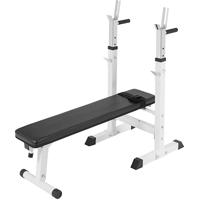 150 opinioni per Gorilla Sports Weight Bench with Adjustable Barbell Rack White