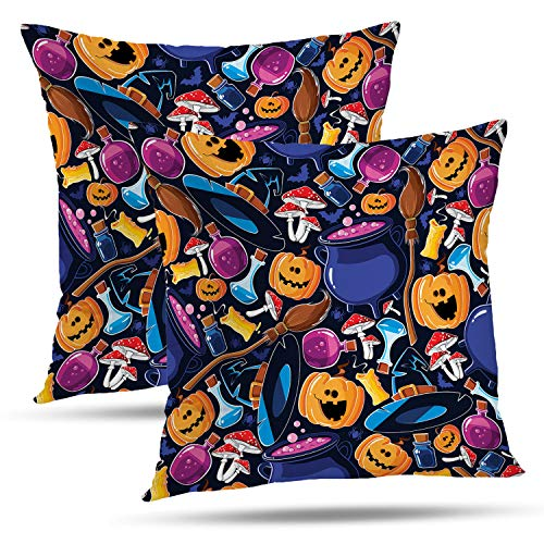 Batmerry Halloween Thanksgiving Decorative Pillow Covers 18x18 inch Set of 2, Bat Broom Candle Cartoon Cauldron Cheerful Cute Funny Hat Throw Pillows Covers Sofa Cushion Cover Pillowcase Home Gift -