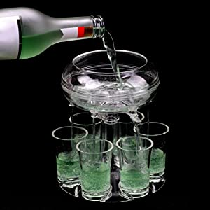 6 Shot Glass Dispenser and Holder with Cups Clear Acrylic Food Grade Bar Multiple Shots Cocktail Dispenser Party Favors
