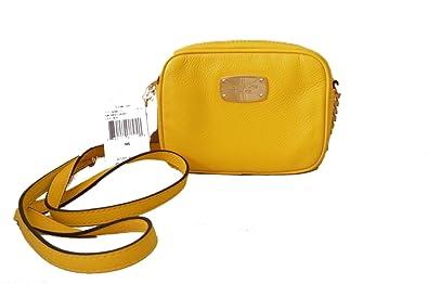9871e6f891 Michael Kors Hamilton Citrus Yellow Pebbled Leather Small Cross-body Bag:  Handbags: Amazon.com