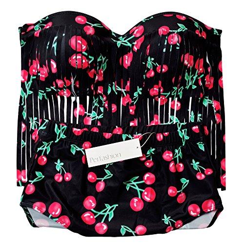 Perfashion de la mujer Plus Size acolchada Bikini borlas Multy Color Tankini para mujer rojo cereza