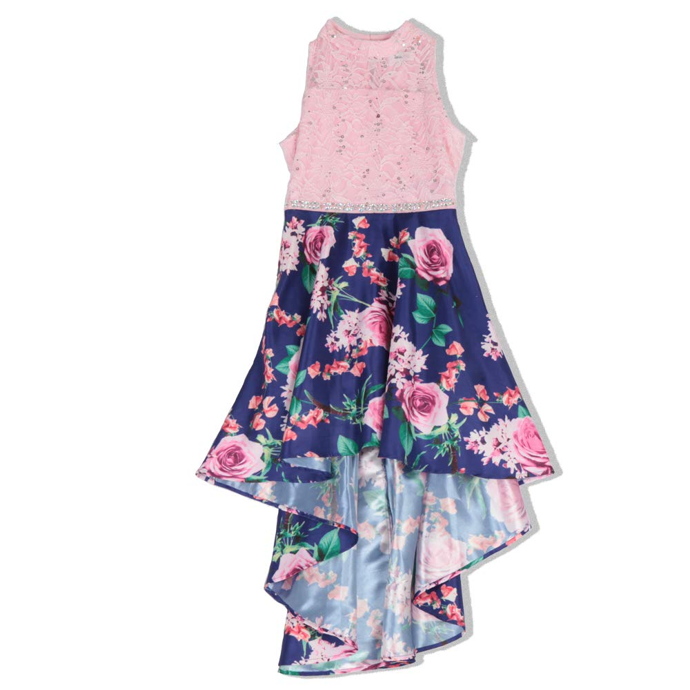 Speechless Girls' Big Party Dress with Dramatic High-Low Hemline, Blue/Pink Floral 10