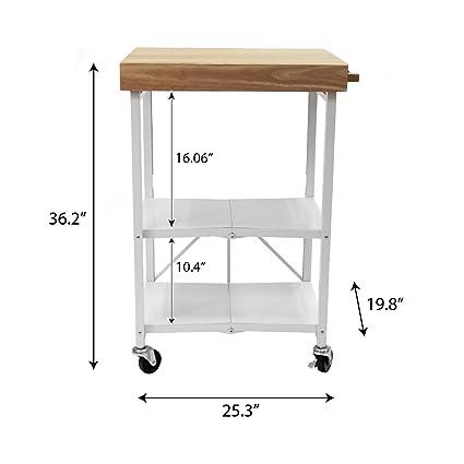 Origami RBT-04 Foldable Kitchen Island Cart, White: Amazon ...