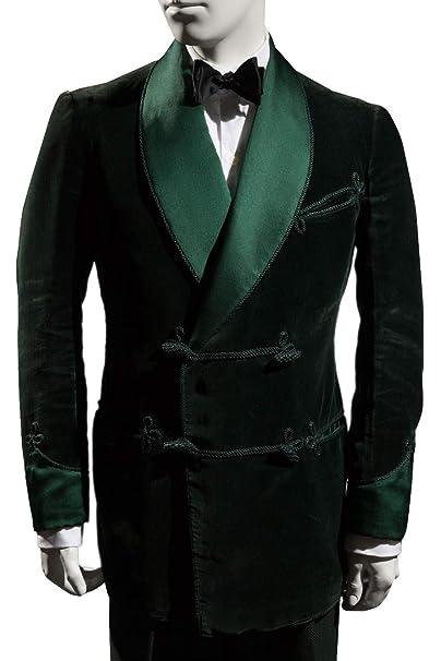 Pinkcityart Mens Smoking Jacket Green Velvet Blazer Hosting ...