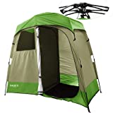 Quictent 2-Room Pop Up Automatic Rod Bracket Shower Tent/Changing/Toilet Room Shelter Outdoor Waterproof and Anti-UV With Carry Bag (Green&Brown)