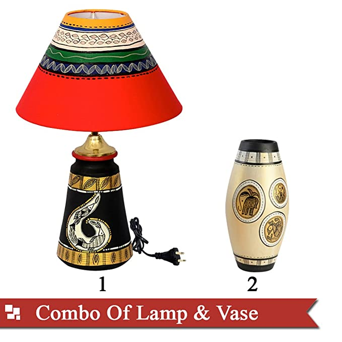 ExclusiveLane Combo of Terracotta Handpainted Lamp & Vase Floor Lamps at amazon