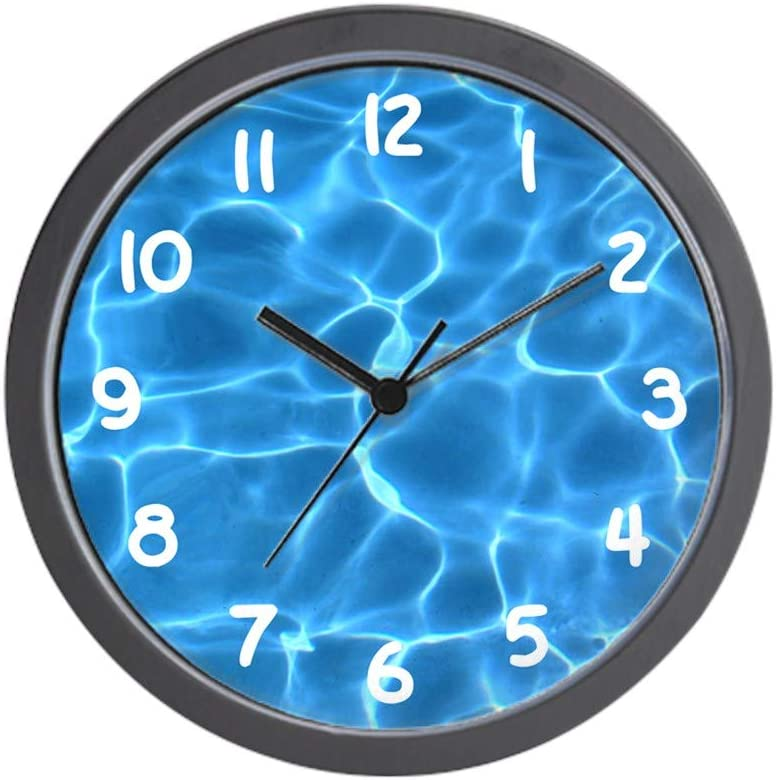 Wall Clock 9.5 in H Round Plastic Quartz Movement Classic Style in Teal Blue