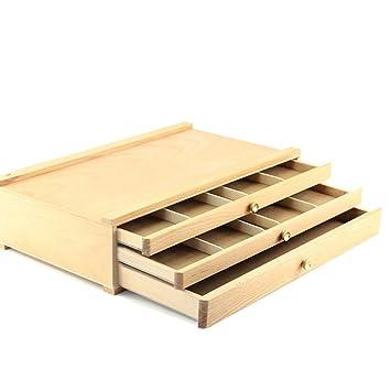la moitié e1b5b 2d17f Boîte en bois à 3 tiroirs TXXCI pour artistes Coffre de rangement de  peinture en bois – Sable marron