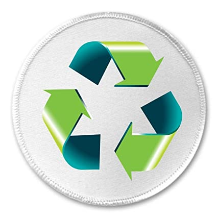 Amazon At Designs Recycle Recycling Symbol 3 Sew On Patch
