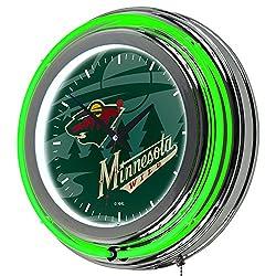 Trademark Gameroom NHL1400-MW-WM NHL Chrome Double Rung Neon Clock - Watermark - Minnesota Wilda