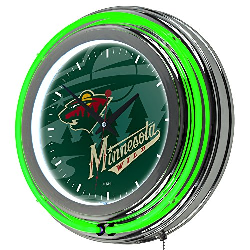 Trademark Gameroom NHL1400-MW-WM NHL Chrome Double Rung Neon Clock - Watermark - Minnesota Wilda ()