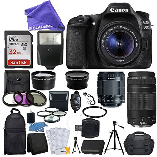 Canon EOS 80D DSLR Camera Body + Canon EF-S 18-55mm IS STM & EF 75-300mm III Lens + 58mm 2x Lens + Wide Angle Lens + 32GB Memory Card + Flash + Quality Tripod + DigitalAndMore Value Bundle by DigitalandMore