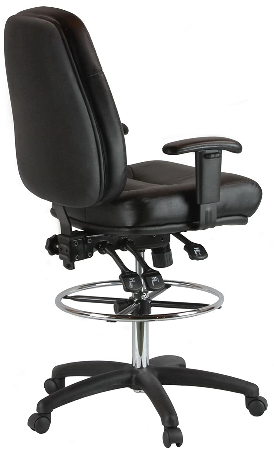 Amazon.com Harwick Premium Leather Drafting Chair With Arms Black Kitchen u0026 Dining  sc 1 st  Amazon.com & Amazon.com: Harwick Premium Leather Drafting Chair With Arms Black ... islam-shia.org