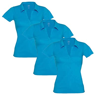 bd5d8b1e8f B&C Womens Ladies Polo T Shirt V Neck Short Sleeve Top Open Collar Fitted  Fashion UK: Amazon.co.uk: Clothing