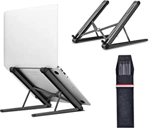 Jubor Laptop Stand, Portable Computer Laptop Mount, Aluminum Laptop Riser with 6 Levels Height Adjustment, Fully Collapsible, Supports up to 44lbs, Fits up to 17.3 Laptop - Black