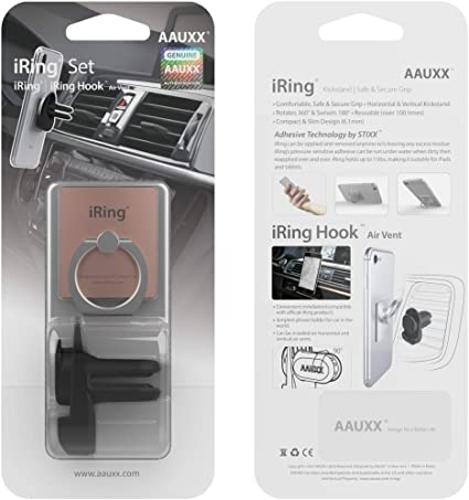 AAUXX Original Cell Phone Ring Grip Finger Holder Mobile Stand Easiest Car Mount Ring Holder Cradle Gold Car Air Vent Universally Compatible iRing with Air Vent Cradle Mount