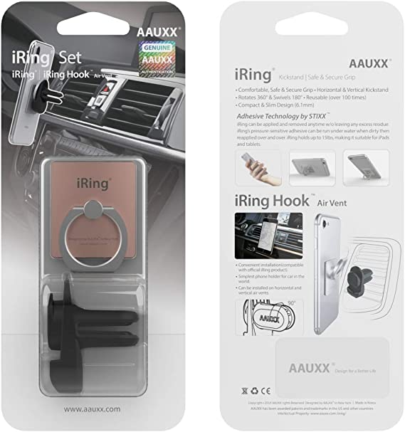 Mobile Stand Car Mount Cradle for iPhone Original AAUXX Cell Phone Grip Finger Holder Jet Black iRing with Hook for car or Wall mounting Android Tablets. Kickstand Samsung Smartphones