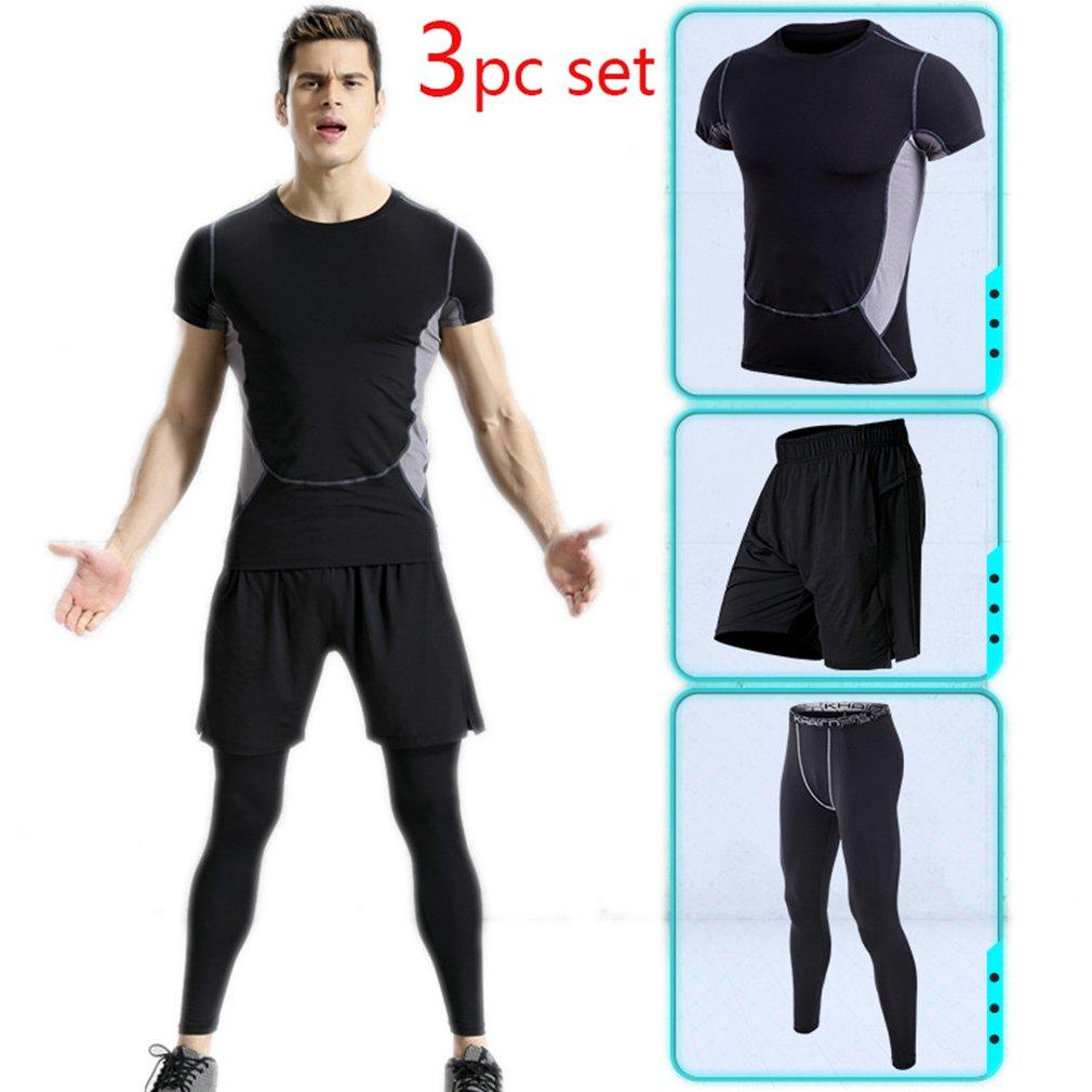 Xiami Leyuan Mens Gym Dry Fit 3 Pcs Workout Set Training Suit (Pants, Shirt, Shorts)