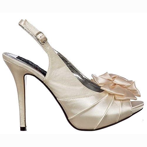 Women s Peep Toe Bridal Wedding Shoes - Slingback With Flower - Ivory Satin  UK 6 - ef7fb0c1ce76