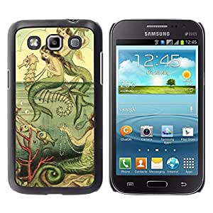 "Pulsar Snap-on Series Teléfono Carcasa Funda Case Caso para Samsung Galaxy Win I8550 , Green Sea Horse Pintura del vintage"""