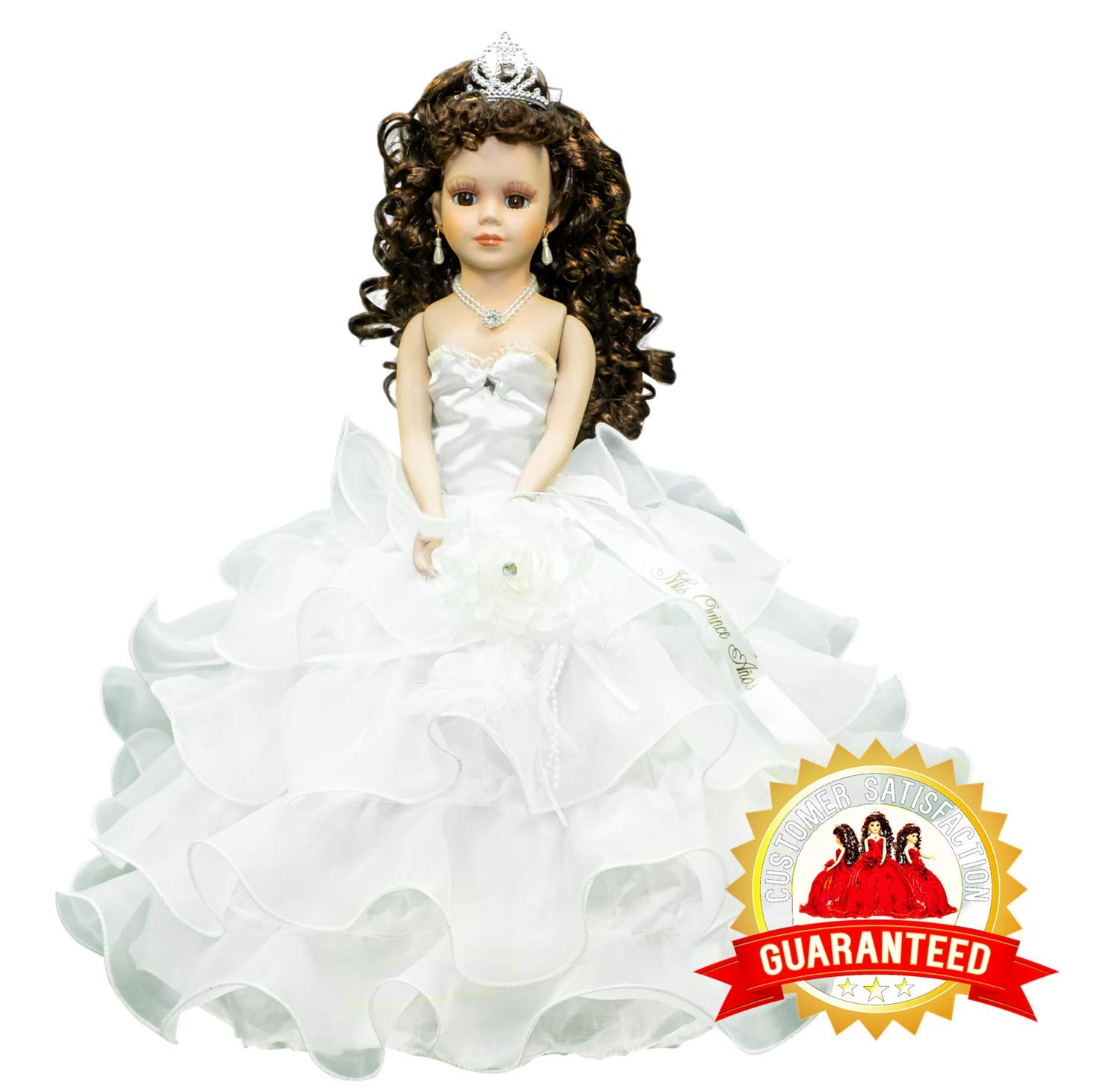 Kinnex Collections by Amanda 18'' Porcelain Quinceanera Umbrella Doll (Table Centerpiece) ~ White ~ KW18728-1