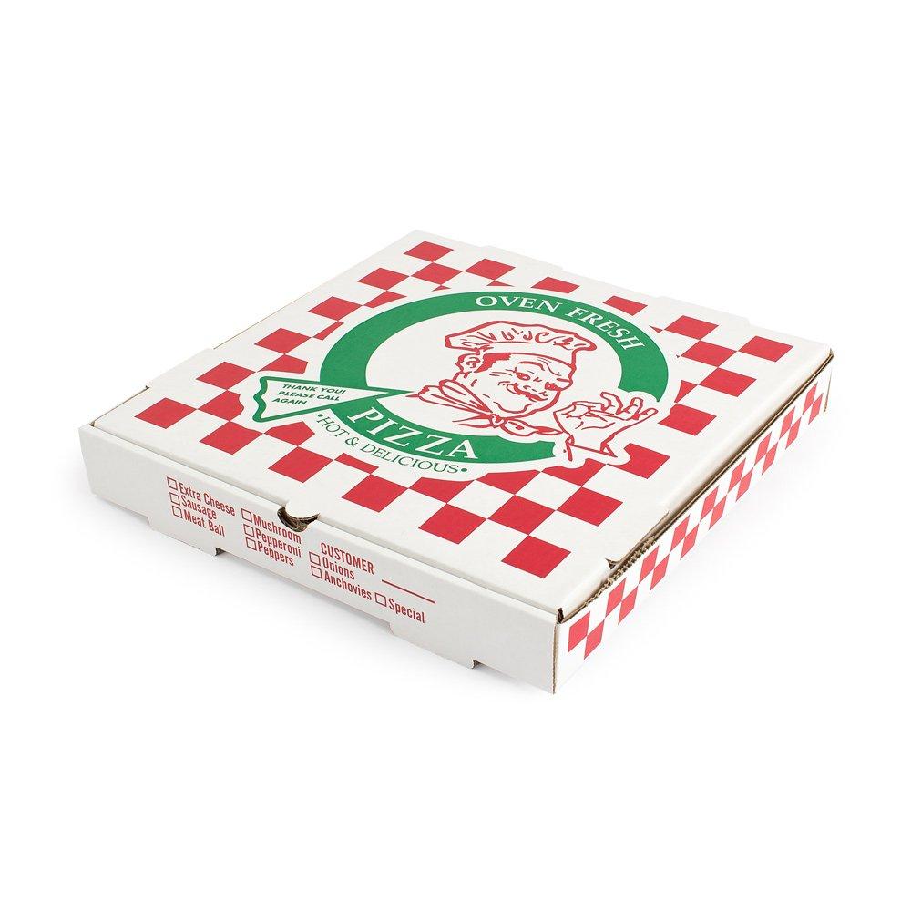 "Pratt PRA1312 Pizza Box, B-Flute, Oven Fresh Pizza Print, 1 7/8"" Deep, 12"", White/Kraft (Pack of 50)"