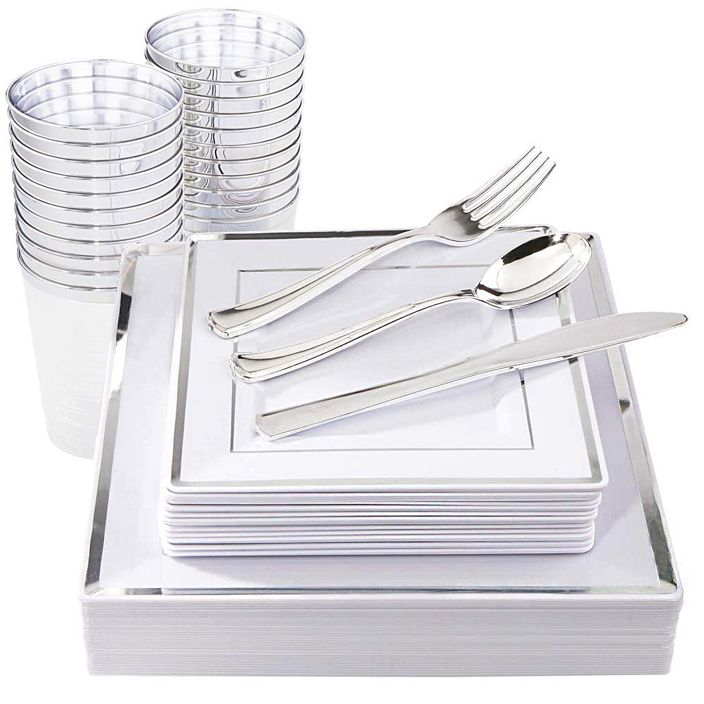 IOOOOO 150 Pieces Silver Square Plates & Disposable Silverware & Plastic Cups, Silver Plastic Dinnerware Include: 25 Dinner Plates, 25 Dessert Plates, 25 Forks, 25 Knives, 25 Spoons, 25 Tumblers by IOOOOO