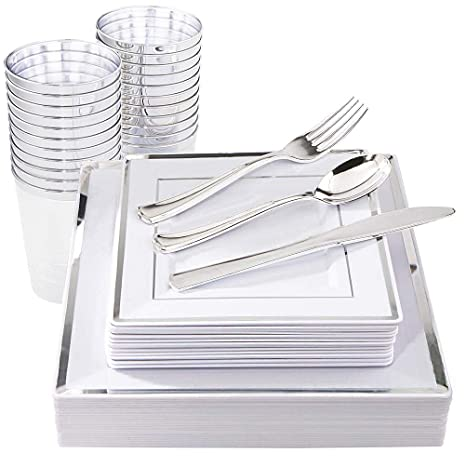 Silver Plastic Wedding Party Dinner Plates with Disposable Silverware Use 125Pcs