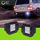 ONLINE LED STORE 2 pcs 24W LED Off Road Cube Lights [Flush Mount] [FLOOD Lens] [6000K Clear White] [Driving Reverse Backup] [12V Work Light] [Rugged] For Trucks, Trailer, Bumper