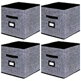 Onlyeasy Cloth Storage Bins Foldable Cube Storage Bin - Fabric Cube Organizers Container Drawers with Dual Handles for Shelves Closet Nursery Organization, 13 x 13 x 13 in, 4 Pack Black, MXABL04PLP
