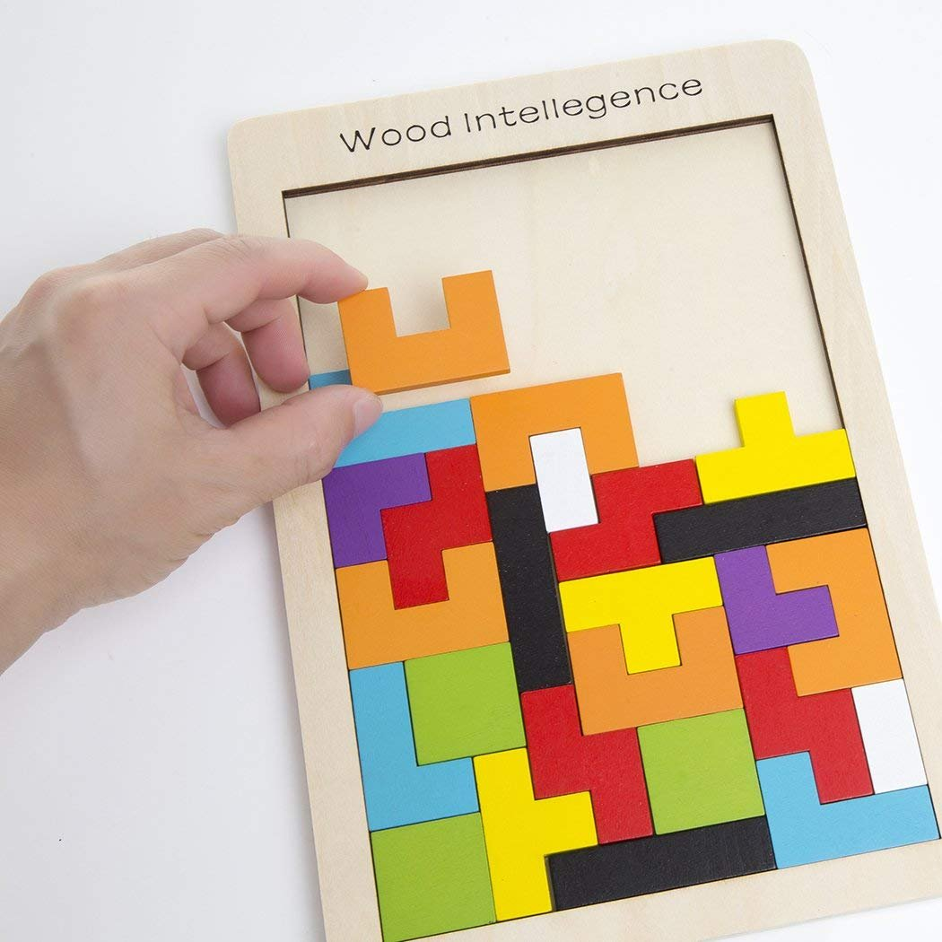 Buself Tetris Puzzle Wooden Intelligence Toy Tangram Brain Tetris Block Intelligence Puzzle Toys with Vivid Color and Eco-Material for Birthday