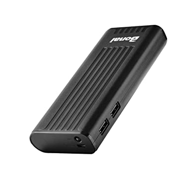 BONAI Powerbank, Bateria Portatil para Movil 10000 mAh Doble Puerto Bateria Externa Cargador iPhone, Samsung -Negro