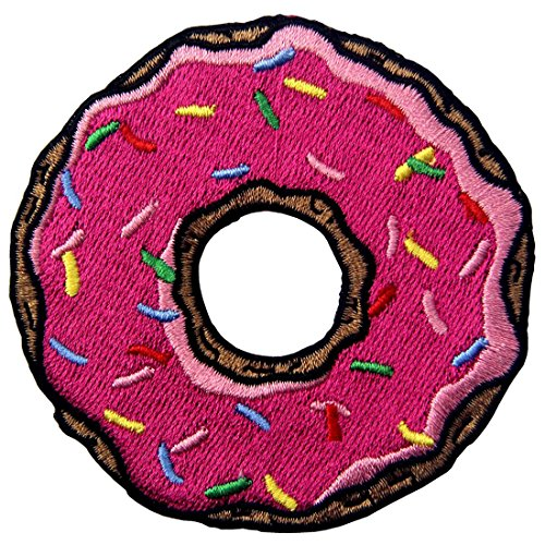 Doughnut Pink Strawberry Donut Sweet Candy Embroidered Badge Iron On Sew On Patch