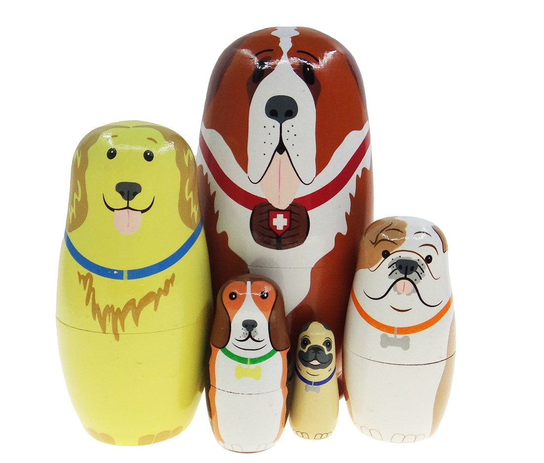 Cute Animal Dog and Friends Nesting Doll Wooden Matryoshka Russian Doll Handmade Stacking Toy Set 5 Pieces For Kids Girl Gifts Home Decoration