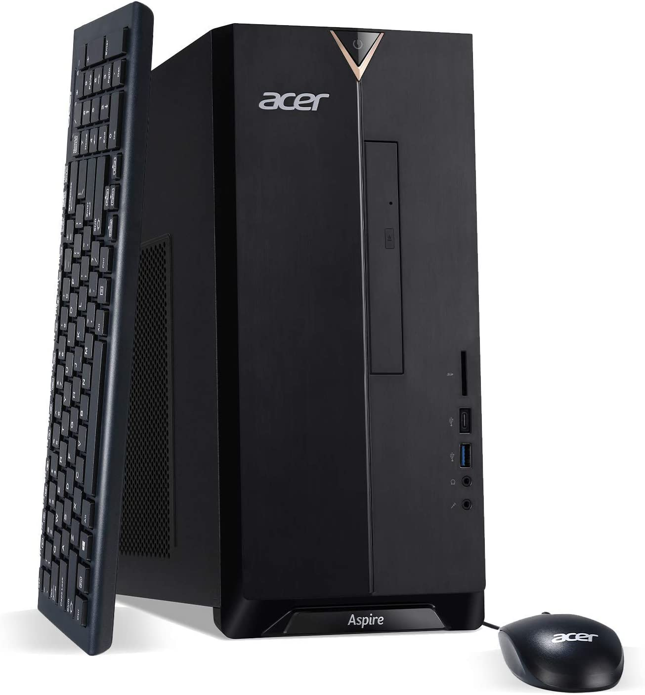 Acer Aspire TC-895-UR12 Desktop, 10th Gen Intel Core i7-10700 8-Core Processor, 16GB 2666MHz DDR4, 512GB NVMe M.2 SSD, 1TB 7200RPM HDD, 8X DVD, 802.11ax WiFi 6, USB 3.2 Type C, Windows 10 Professional
