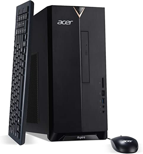 Acer Aspire TC-895-UA92 Desktop, 10th Gen Intel Core i5-10400 6-Core Processor, 12GB 2666MHz DDR4, 512GB NVMe M.2 SSD, 8X DVD, 802.11ax Wi-Fi 6, USB 3.2 Type C, Windows 10 Home