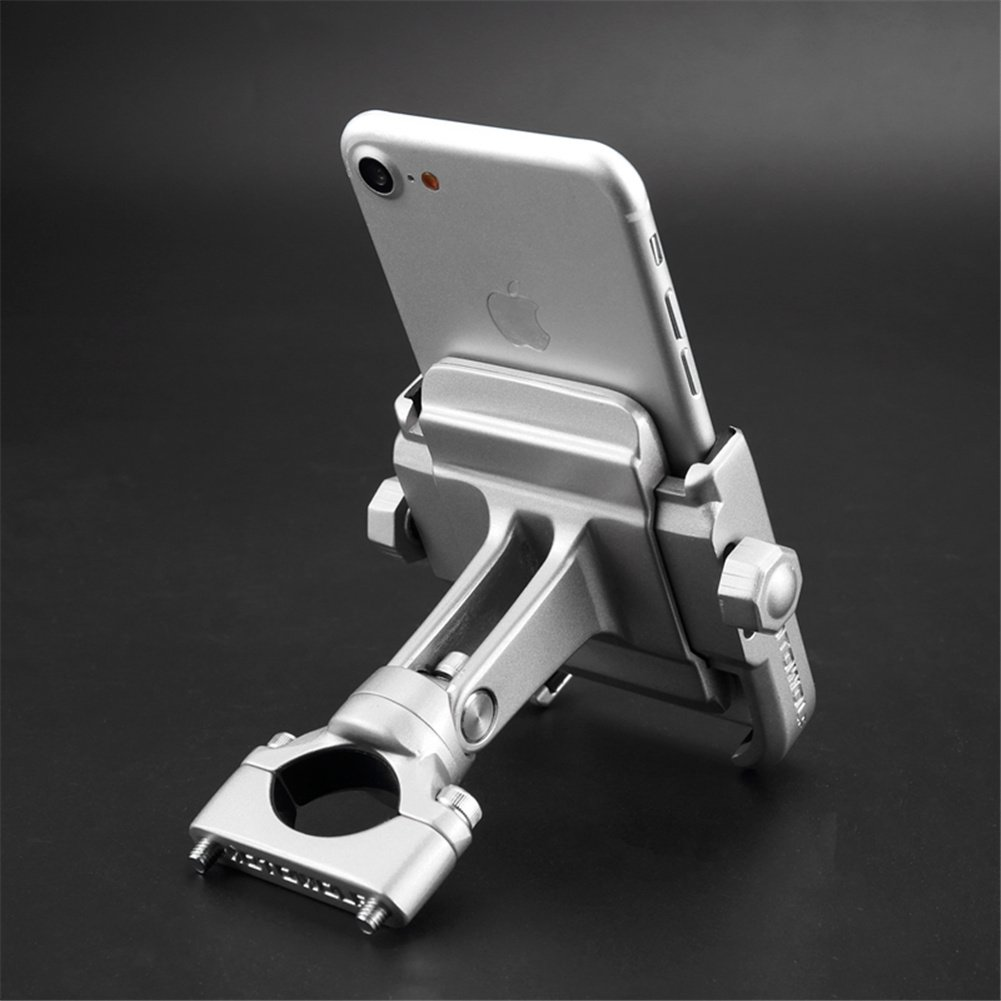 ILM Motorcycle Phone Mount Premium Aluminum Universal Bike Handlebar Holder Fits iPhone X, 7 | 7 Plus, 8 | 8 Plus, iPhone 6s | 6s Plus, Galaxy S7, S6, S5, Holds Phones Up To 3.7'' Wide (SILVER) by ILM (Image #2)