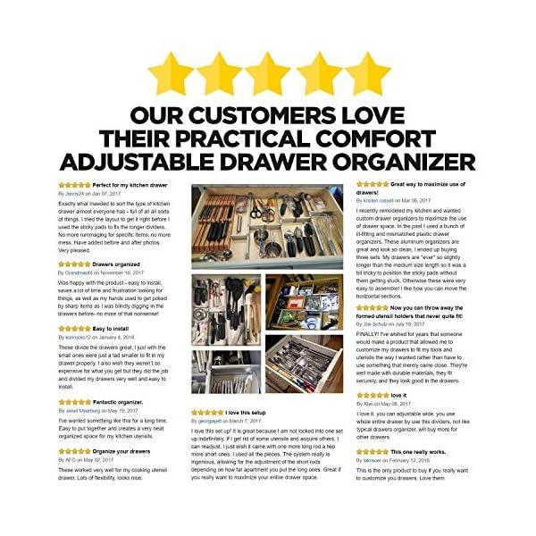 61A%2BKPJ51tL PRACTICAL COMFORT Schubladen-Organizer, Verstellbarer Schubladeneinsatz aus Aluminium für Clutter-Freie Küche…
