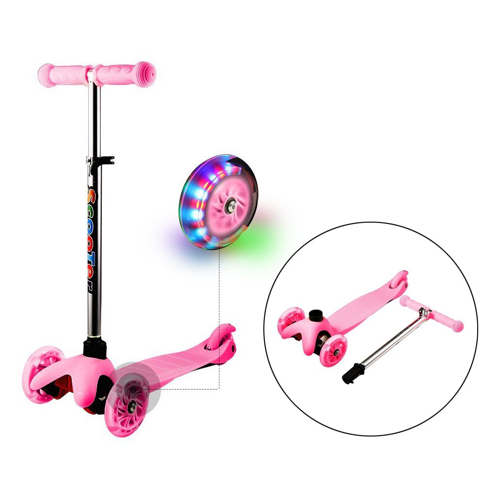 3 Wheels Kids Adjustable Kick Scooters/ Metal Mini Push Scooter for 3+ Kids with LED Light Up Wheels, Dtemple