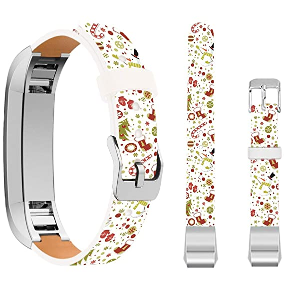 Christmas Bands for Fitbit Alta HR,Ecute Replacement Soft Genuine Leather Strap Bands for Fitbit Alta/Fitbit Alta HR SmartWatch - Snowman with Gift
