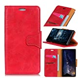 Scheam Huawei Honor 7X Case, [Portable Wallet ] [ Slim Fit ] Heavy Duty Protective Protection Flip Cover Wallet Case Huawei Honor 7X - Red