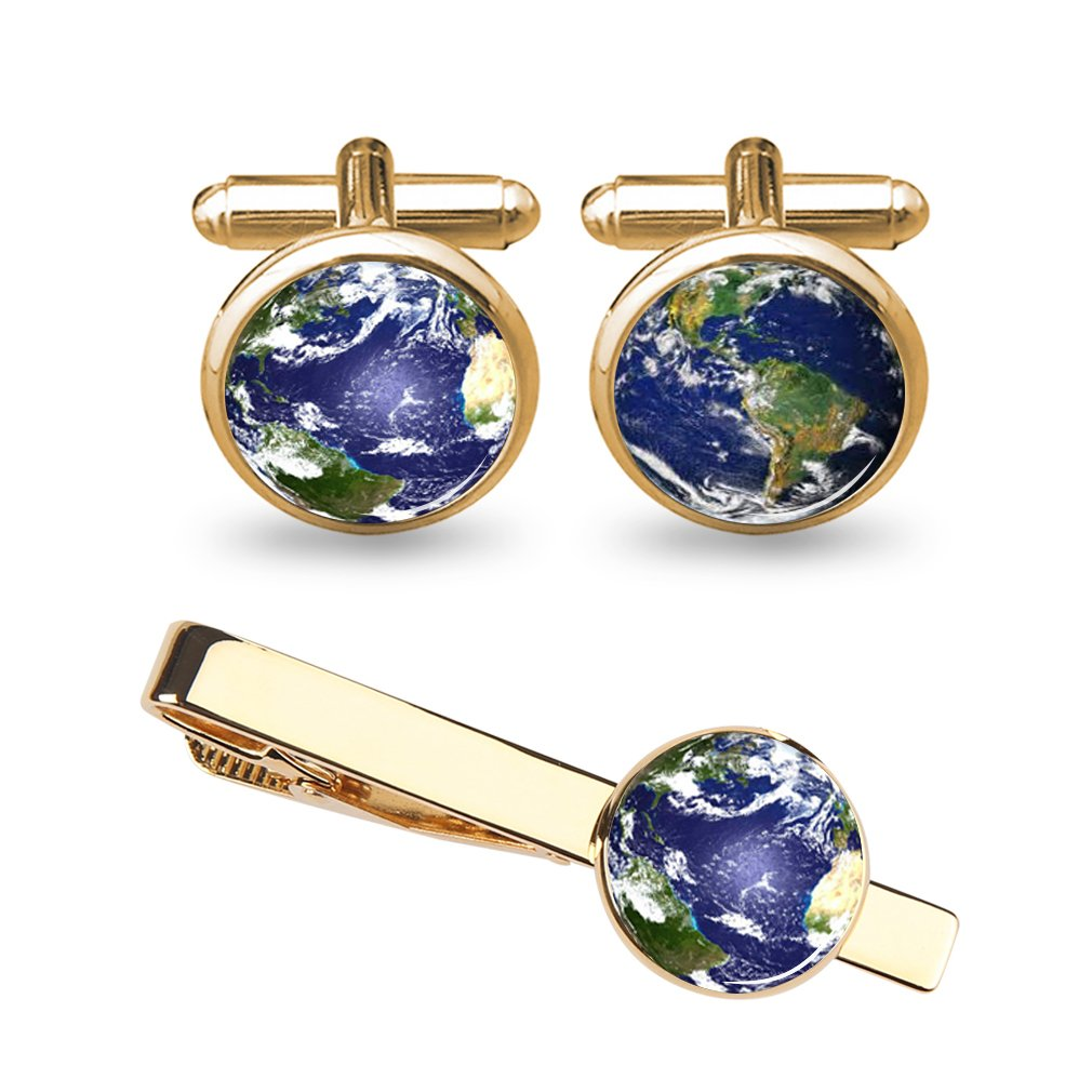 ZUNON Globe World Map Earth Cufflinks Blue Wedding Groom Groomsman Father Grandfather Dad Tie Clip Bar Tack (Earth cufflinks tie clips gold)