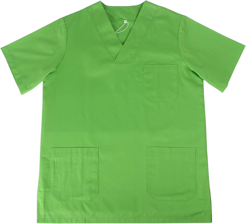 Ref.817 Abbigliamento Lavoro Unisex Collo Picco Maniche Corte Uniforme Clinica Ospedale Pulizia Veterinario IGIENE OSPITALIT/Á MISEMIYA