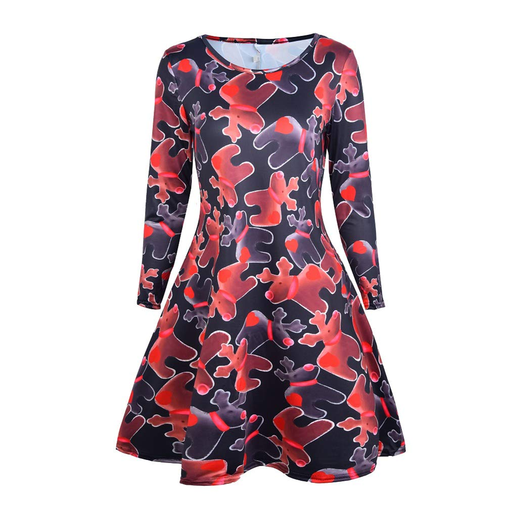 YiLe Women Christmas Dress Long Sleeve Swing Plus Size Dresses