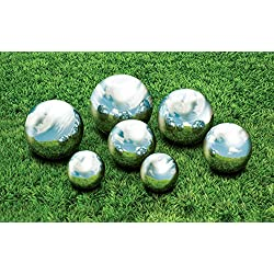 "Kovot 7 Piece Garden Sphere Set - 7 Stainless Steel Gazing Balls Ranging From 2 3/8"" - 4 3/4"""