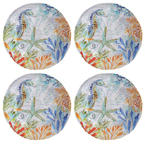 Coastal Seahorse Coral Reef Melamine Dinner Plates, Set of 4 (Melamine Dinnerware Coastal)